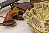 Civil War pistol, sword and Confederate bills poster
