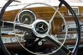 """PAAREN IM GLIEN GERMANY - MAY 19: Cab's most prestigious and expensive German car 50s today's analog S-Class Mercedes-Benz Type 300 Adenauers """"The oldtimer show"""" in MAFZ May 19 2013 in Paaren im Glien Germany poster"""