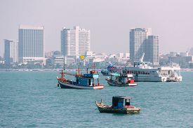 Various Sizes of Vessel near Pattaya Beach Chonburi in Gulf of Thailand Consist of Fishing Boat, Trawler Boat