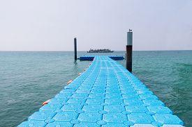Blue Plastic Modular Floating Dock on the Sea in Pattaya, Thailand