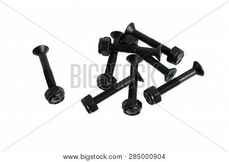 Hardware Bolts And Nuts Set For Longboard Or Skateboard, Isolated On White