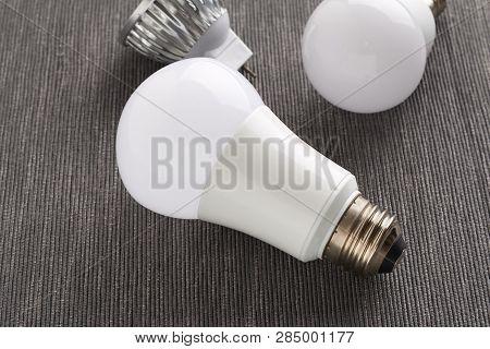E26, E14 And Mr-16 Led Bulbs On A Background