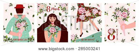 International Womens Day. Spring Holiday Happy Womens Day 8 March. Set Of Cute Greeting Card, Poster