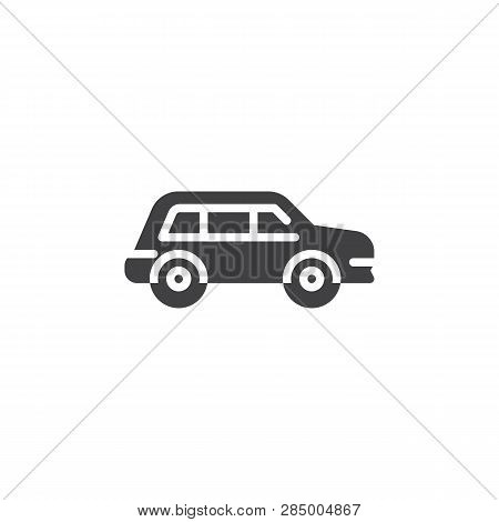 Crossover Car Vector Icon. Filled Flat Sign For Mobile Concept And Web Design. Transportation Car Si