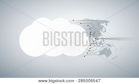 Cloud Computing Design Concept - Digital Connections, Technology Background With World Map And Netwo