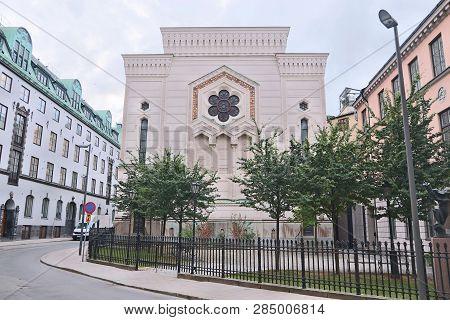 Stockholm City Landmark In Sweden. The Great Synagogue Of Stockholm.