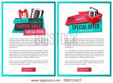 Half Price Economy On Sale, Reduction Of Price, Discount Labels Presents Web Page Template Vector. P