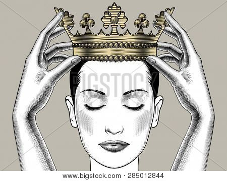 Woman holding above a head the golden crown. Leadership, success , queen. Female hands holding a crown. Vintage engraving stylized drawing.