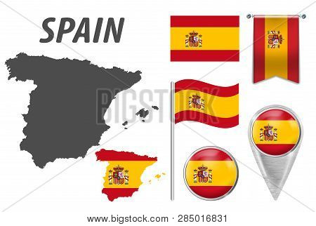 Spain. Collection Of Symbols In Colors National Flag On Various Objects Isolated On White Background