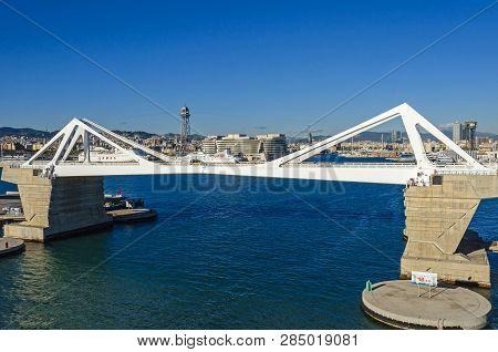 Barcelona, Spain - November 10, 2018: Cruise Port With Its Bridge Porta Europa,  World Trade Center