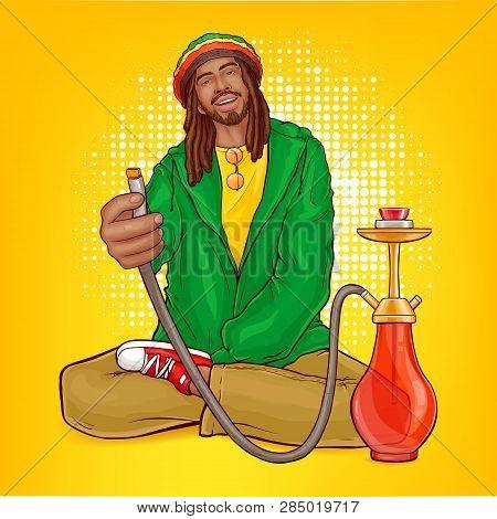 Vector Pop Art Male Character - Rasta Guy With Dreadlocks Suggests Hookah. Man From Jamaica In Green