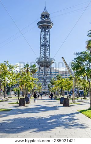 Barcelona, Spain - November 10, 2018: Port Vell With Its Steel Truss Tower And Aerial Lift Pylon Of