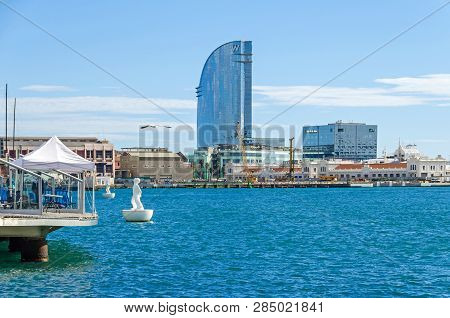 Barcelona, Spain - November 10, 2018: Port Vell With Its Moll De Catalunya And W Barcelona Known As