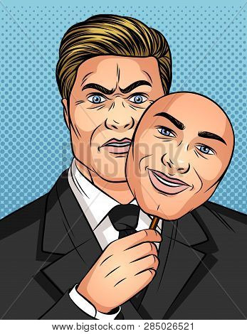 Color Vector Illustration In The Style Of Comic Pop Art. A Man Holds A Mask In His Hands. Businessma