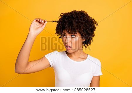 Close-up Portrait Of Her She Nice Cute Attractive Girlish Charming Worried Wavy-haired Lady Looking