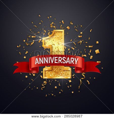 1 Anniversary Celebrating Golden Number With Red Ribbon Vector And Confetti Isolated Design Elements