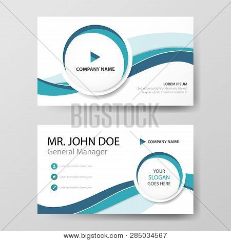 Blue Circle Corporate Business Card, Name Card Template ,horizontal Simple Clean Layout Design Templ