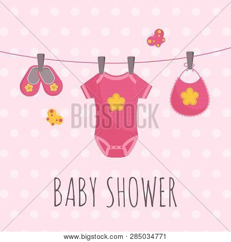 Baby Shower Banner In Flat Vector Illustration - Pink Dotted Card With Babysuit, Pair Of Booties And