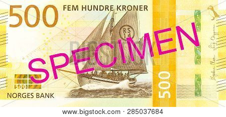 A New 500 Norwegian Krone Banknote Obverse Specimen