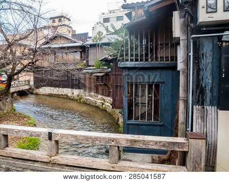 Kyoto, Japan - January 3, 2019 : Traditional Japanese Houses On Shirakawa River At Gion Ward