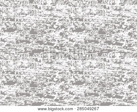 Monochrome Traditional Irish Cobblestone Wall Texture. Seamless Vector Background. Rescale And Recol