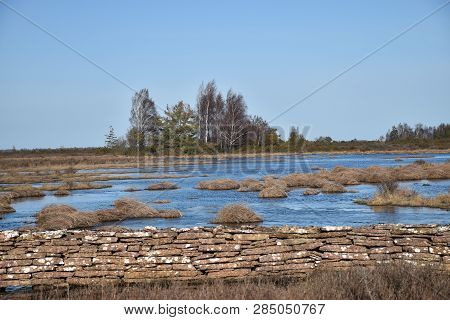 Flooded Landscape With Grass Tufts And An Old Stone Wall By Springtime At The Swedish Island Oland