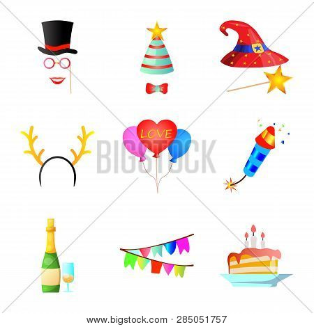 Vector Design Of Party And Birthday Symbol. Collection Of Party And Celebration Stock Vector Illustr