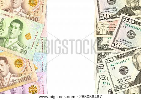 Some Thai Baht And Us-dollar Banknotes Indicating Trade Relations With Copyspace