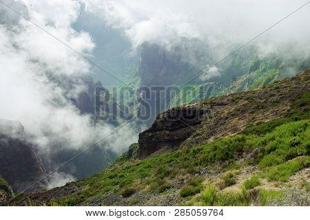 View Down From Mountain Peak. Pico Do Arieiro On Portuguese Island Of Madeira