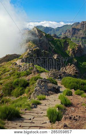 Hiking Trail On The Mountain Peak. Pico Do Arieiro On Portuguese Island Of Madeira
