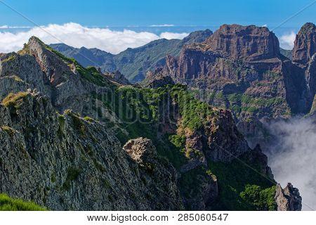 Amazing View On The Mountain Peaks From Pico Do Arieiro On Portuguese Island Of Madeira