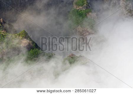 Mountain Peak In Dense Clouds. Pico Do Arieiro On Portuguese Island Of Madeira