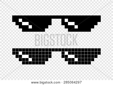Glasses Pixel 8 Bit On Transparent Background. Black Glasses Pixel