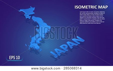 Isometric Map Of The Japan. Stylized Flat Map Of The Country On Blue Background. Modern Isometric 3d