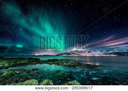 Amazing Aurora Borealis - Northern Lights - View From Coast In Vagnes, Near Tromso City -  North Nor