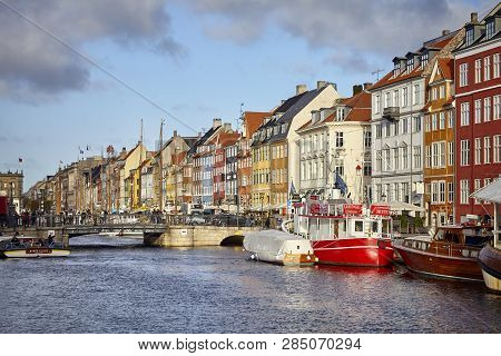 Copenhagen, Denmark - October 22, 2018: Nyhavn, 17Th Century Waterfront, Canal And Entertainment Dis