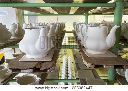 Traditional Ceramics Pottery On Production Line In Factory