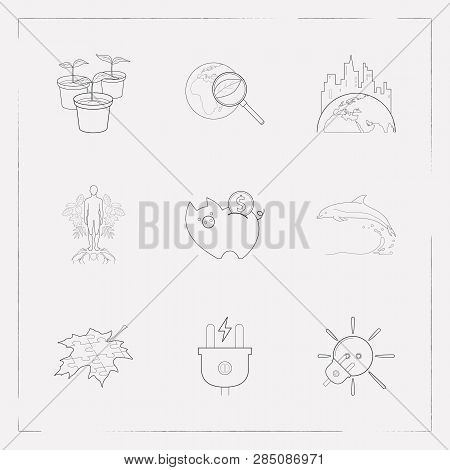 Set Of Ecology Icons Line Style Symbols With Solar Power, Global Ecology Research, Savings And Other