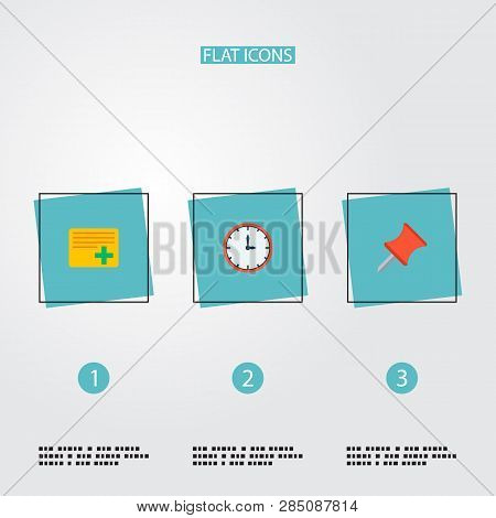 Set Of Task Manager Icons Flat Style Symbols With Add Task, Pin, Time And Other Icons For Your Web M