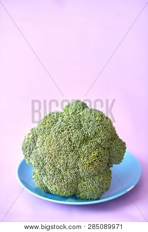 Fresh Brocoli On A Blue Plate On A Purple Background.