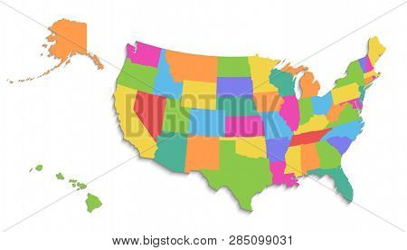 Usa Map With Alaska And Hawaii Map, New Political Detailed Map, Separate Individual States, With Sta