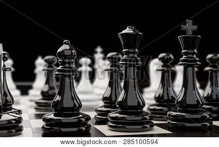 3d Illustration On The Theme Of Chess And Intellectual Games. Chess Pieces During The Game Of Chess