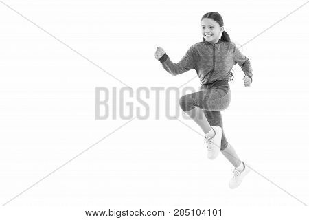 Girl cute kid with long ponytails sportive costume jump isolated on white. Working out with long hair. Sport for girls. Guidance on working out with long hair. Deal with long hair while exercising. poster