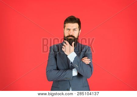 Man Bearded Businessman Thoughtful Face Solving Problem Making Decision. Decision Making Is Part Of