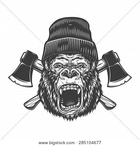 Angry Gorilla Head In Lumberjack Hat With Crossed Axes In Vintage Monochrome Style Isolated Vector I