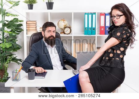 Modern Business Couple Working In Modern Office. Businesspeople. Formal Fashion Dress Code. Business