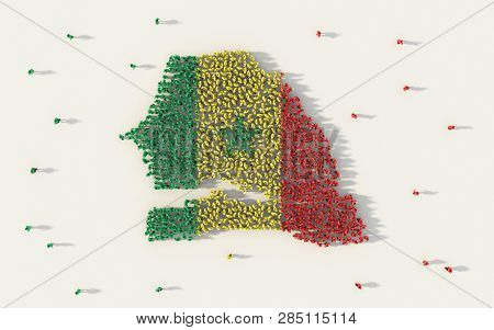 Large group of people forming Senegal map and national flag in social media and community concept on white background. 3d sign symbol of crowd illustration from above gathered together poster
