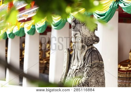 Sculpture In A Buddhist Temple In Bangkok Thailand, Culture And History Of Southeast Asia