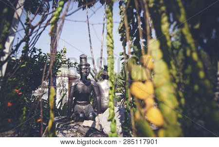 Sculpture In Buddhist Temple In Bangkok Thailand, Culture And History Of Southeast Asia