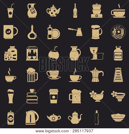 Dinnerware Icons Set. Simple Style Of 36 Dinnerware Vector Icons For Web For Any Design